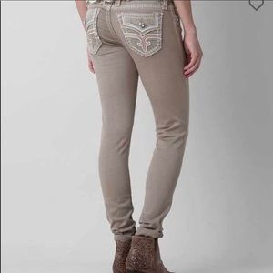 Rock Revival tan Margie skinny jeans size 28